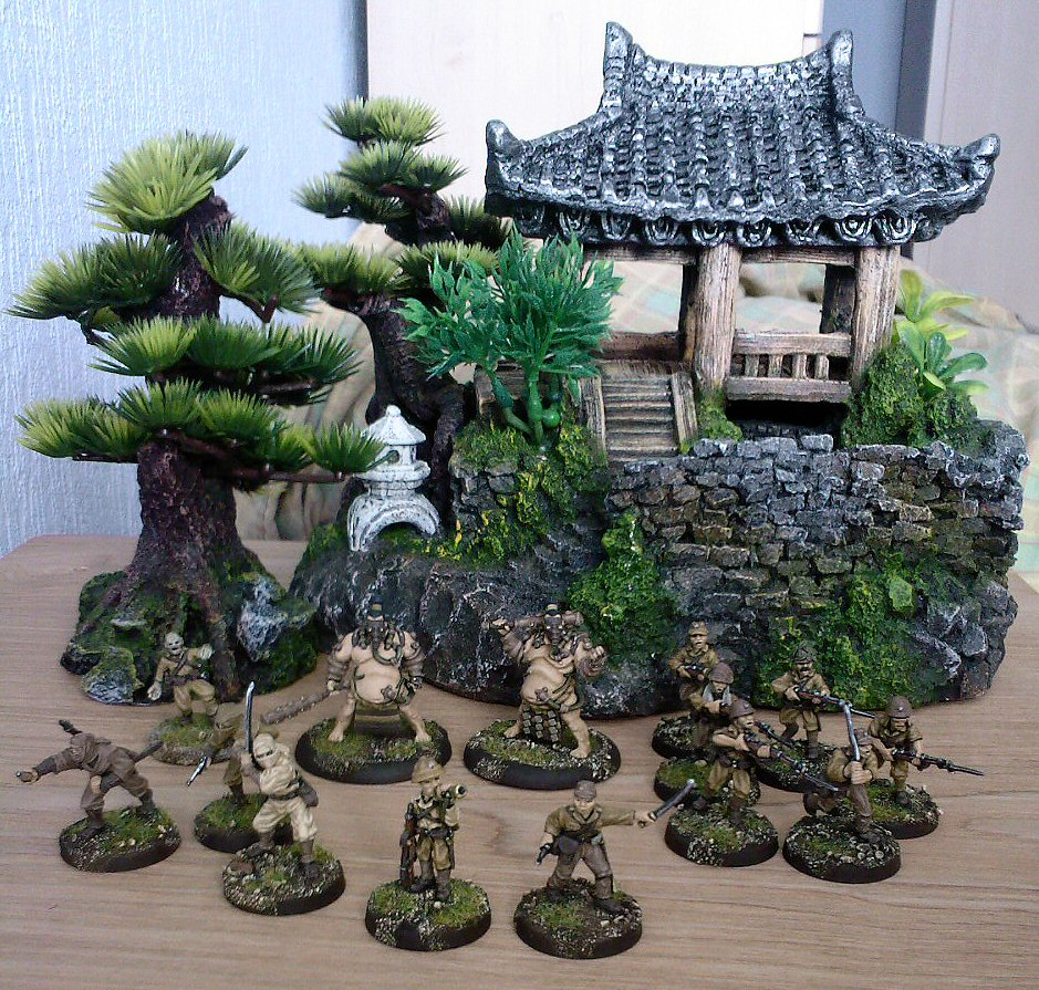 Fish tank decorations zombie -  Zombie Brigade Games The Two Officers And Perry Miniatures The Converted Ninjas The Background Scenery Items Are Two Aquarium Decoration Pieces